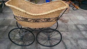 Alter antiker kinderwagen stubenwagen korb aufgearbeitet ca. 1900