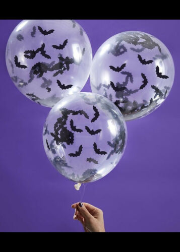 Halloween Black Bat Confetti Filled Balloons Pk5