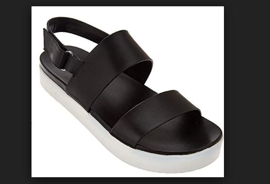 H by Halston Leather Platform Sandal Brooke Black Women's 9 New