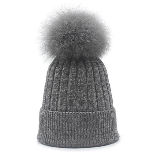 Fox Fur Pompom Ball Knitted Ski Hat Winter Warm Cashmere Blend Cuffed Beanie Cap