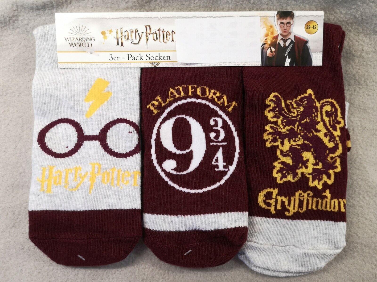 HARRY POTTER 3 Paar Socken Strümpfe 39 - 42 GRYFFINDOR NEU & ETIKETT