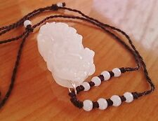 Ice White Jade Pixiu Dragon Lucky Coin Feng Shui Gemstone Hand Knitted Necklace