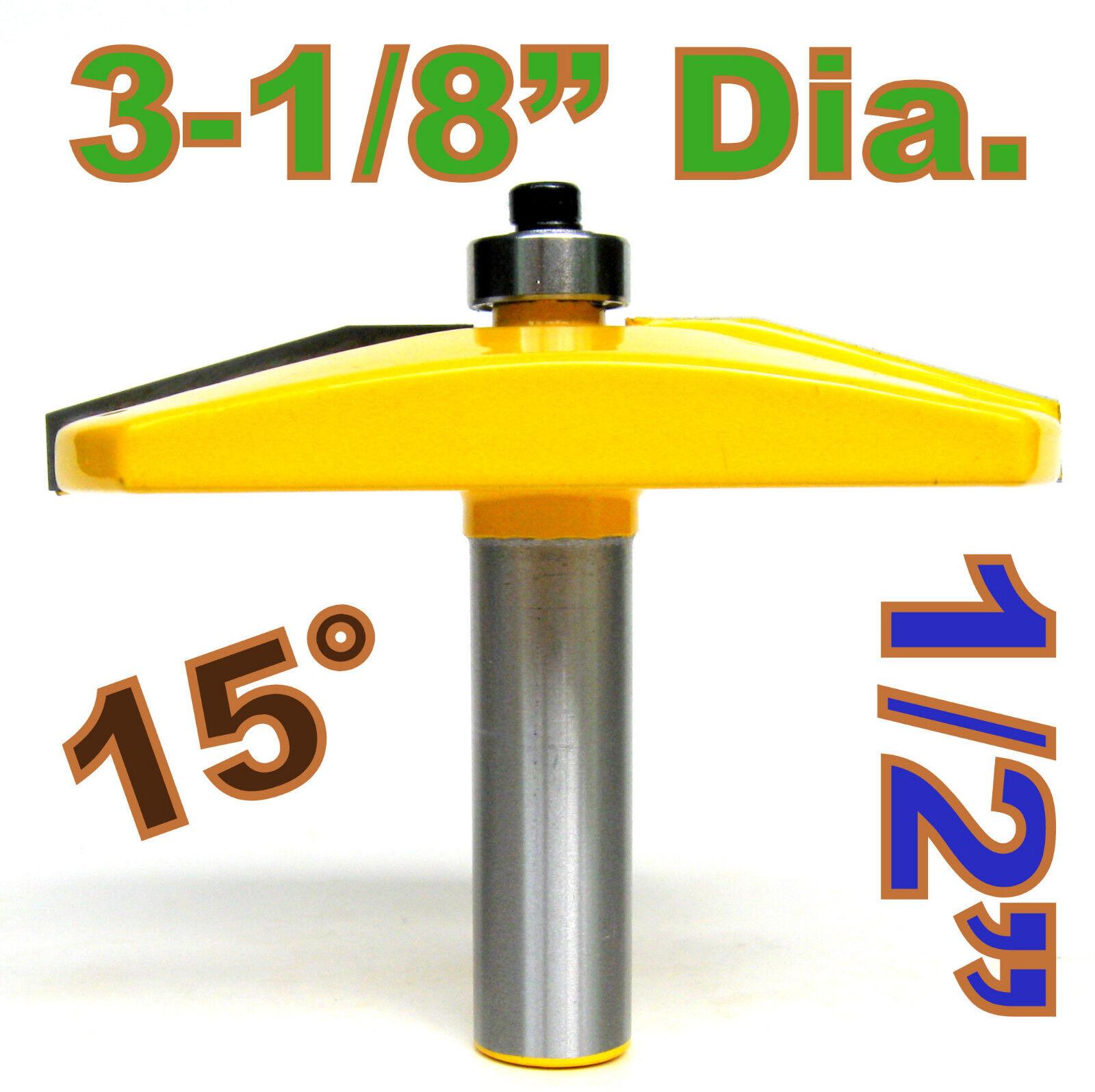 "3-1//8/"" Diameter Bevel Raised Panel Router Bit 1//2/"" Shank Yonico 12141"