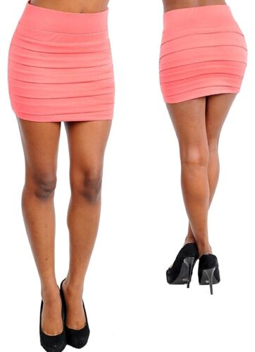 Coral Wet Seal Pleated Tier Mini Bandage Bodycon Skirt