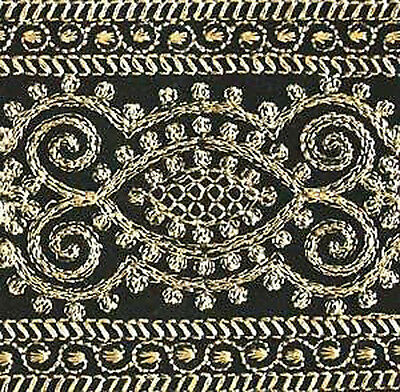 3 Yards, Wide, Iron-On Trim. Gold Embroidered on Black