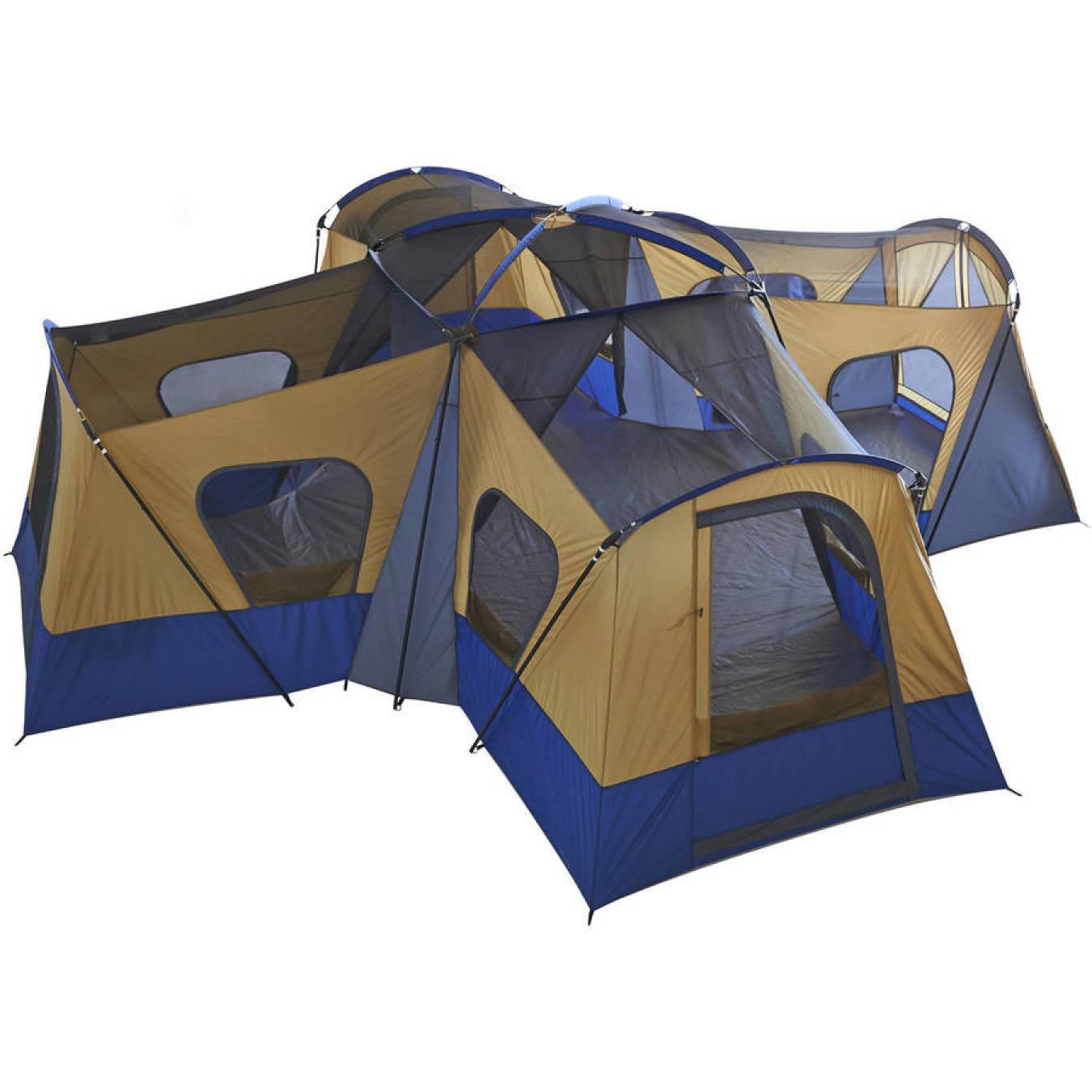 Ozark Trail 14 personas 4-habitación tienda Cabaña campamento base con 4 entradas configurar rápido