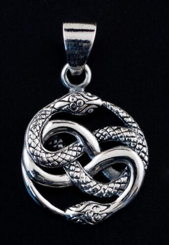 Pendentif tibetain  Serpent enlacé ouroboros noeud Argent 925 3g 25405 K29