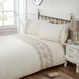 Rapport-Luxury-034-Kanza-034-Embroidered-Detail-Duvet-Cover-Bedding-Set-Cream