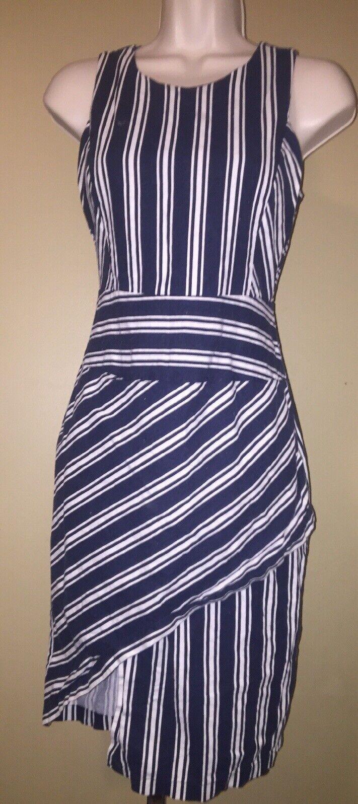 J.O.A Los angeles Linen Blend Navy White Sleevelss Striped Pencil Dress Size XS