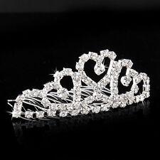 Heart Crystal Silver Rhinestone Hair Comb Tuck Tiara Diamante Wedding Party