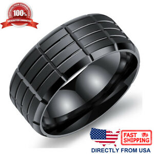Men-039-s-Stainless-Steel-Ring-9mm-Comfort-Fit-Wedding-Band