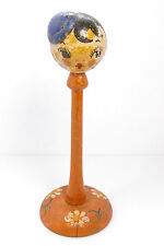 Vintage 1920s Hand Painted Wood Mini Hat Stand Flapper Girl Top