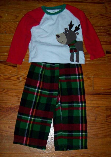 77cda2751eb6 Boys CARTER S 2pc Red Green White Brown Fleece Plaid Deer Pajamas ...