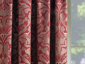 RED-Gold-3-034-Top-Tape-Lined-Ready-Made-Curtains-Jacquard-Damask-Modern-Luxury-UK