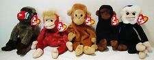 Ty Beanie Bag Babies Soft Plush Toys Stuffed Animals Monkeys Lot Mooch Tag Error