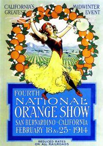 1914 4th National Orange Show San Bernardino California Advertisement Poster