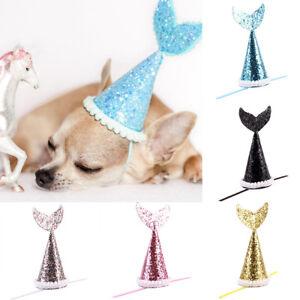 Image Is Loading Pet Dog Cat Birthday Mermaid Crown Hat Cap