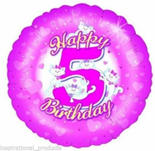 "18"" FOIL BALLOON  AGE 5 5TH BIRTHDAY - pink girly with kittens"