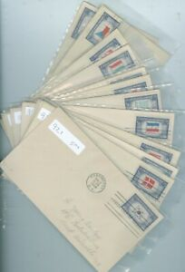 US-FDC 909-921 SET OF OVER RUN COUNTRIES CANCEL.1943-44