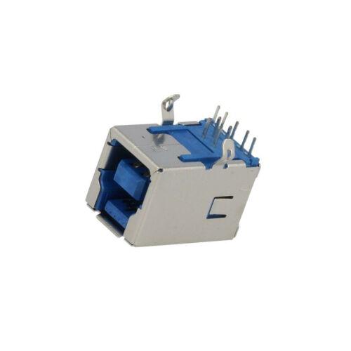Prise 209D-DG01 USB B sur PCB THT coudé 90 °//USB 3.0 plaqué or assister