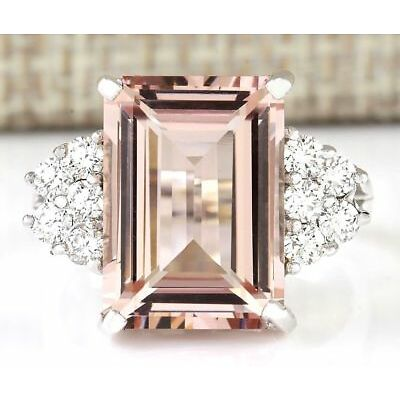 925 Silver Princess Cut Morganite Gemstone Ring Engagement Wedding Jewelry 6-10