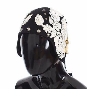 d94d1490c3e NEW  2700 DOLCE   GABBANA Hat Black Wool White Floral Gold Leaf ...