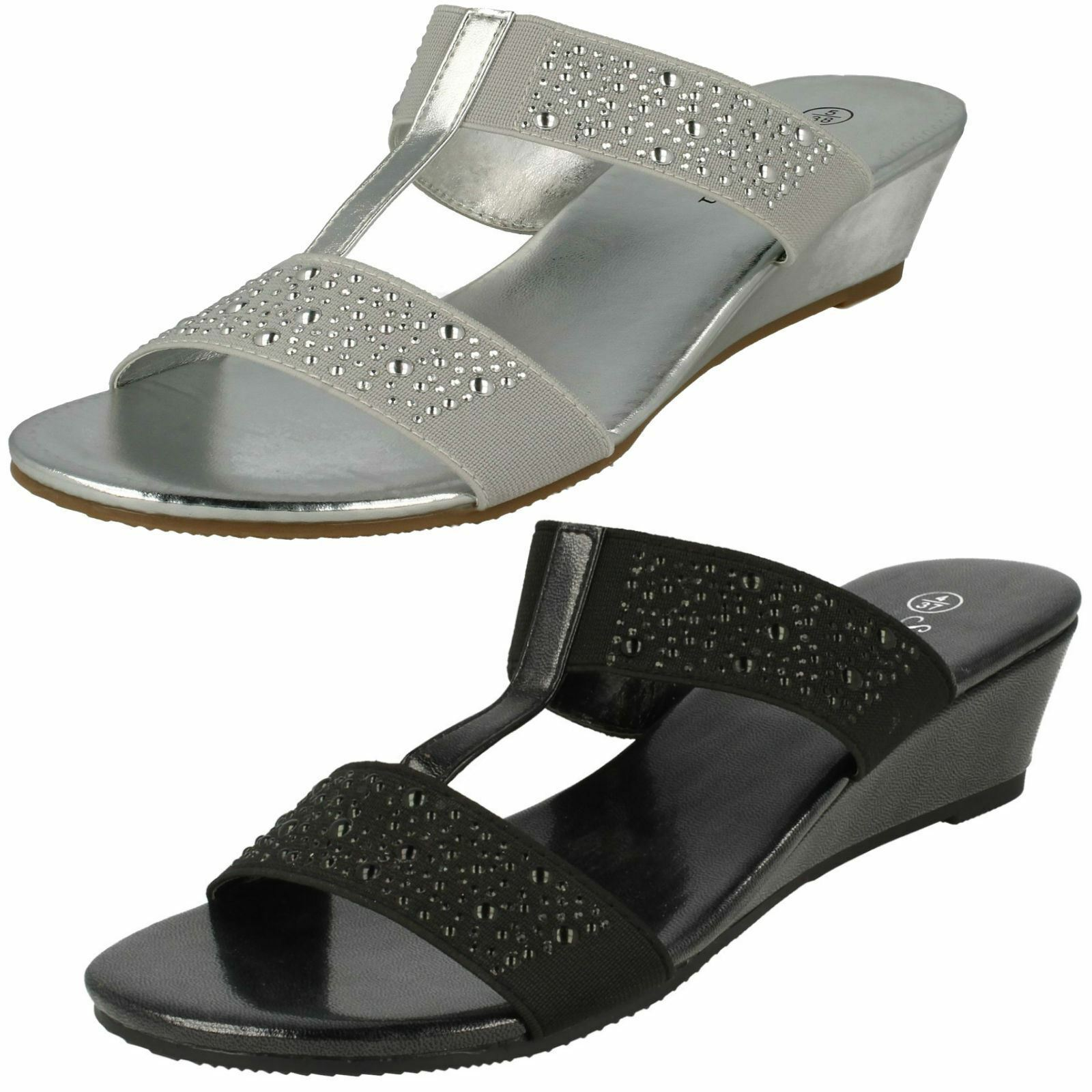 F10736- las Señoras Savannah Sandalias- de Cuña Zapatos sin Talón Sandalias- Savannah Negro&Plateado 04beaa