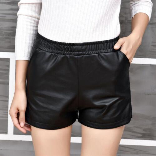 Femme Short Taille Haute Noir Élastique Mince Cuir PU Slim Pantalons Casual Mode