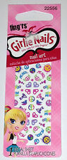 Fing'rs Girlie Nails Nail Art Peace & Love Decal # 22556 For Little Girls NEW