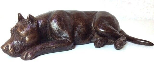 AM STAFF (cropped ears sommeil)  - Froid Cast Bronze Figurine 5.25  long  63-008-2