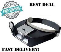 Jewelers Head Headband Magnifier Magnifying Glasses Light Visor Loupe Led
