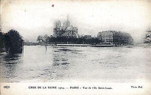 75-Paris-Crue-de-la-Seine-Vue-de-l-039-Ile-Saint-Louis