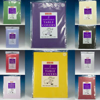 PAPER TABLE CLOTHS PACK OF 2 ASSORTED COLOURS FREE UK P+P