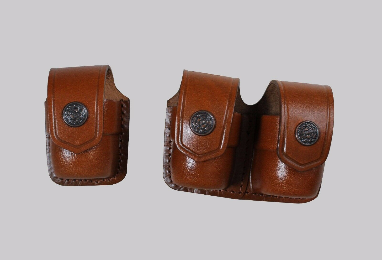 K3738-SW Single&Double Leather Speedloader Case Pouch S&W Magnum Handmade