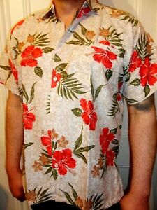 da20ec3aded5cc Mens Vintage Red Brown Beige Floral Print Wedding Mexican Hawaiian ...