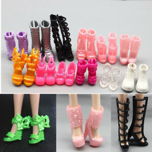 10-Pair-Daily-Wear-Heels-Boots-Sandals-Shoes-for-Barbie-Doll-Clothes-Mixed-Style