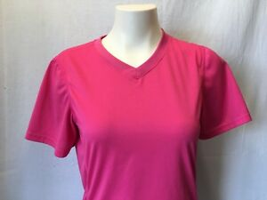 Diadora-Women-039-s-Athletic-Short-Sleeve-V-Neck-Pink-Top-Size-Medium