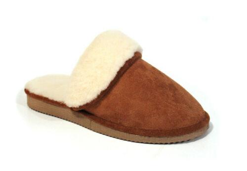 Véritable Fourrure Peau De Mouton Chaussons À Enfiler Mules 100/% cuir Antidérapant Semelle en caoutchouc