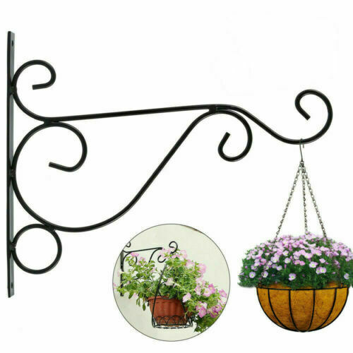 Metal Hanging Basket Brackets Outdoor Garden Plant Hanger Hook Wall Decor s5
