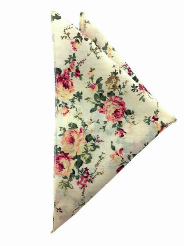 Men/'s Beige Floral 8.5CM Necktie /& Pocket Square Wedding tie Groomsmen Gifts