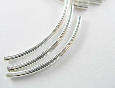 925 Sterling Silver 8 Curve Beads 2x35 mm.
