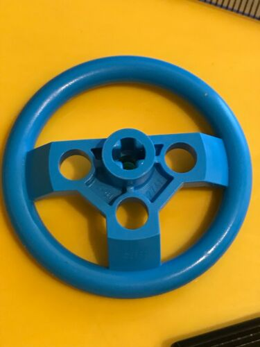 Dark Blue Azure Connector Lego Technic Large Steering Wheel with Axle hole