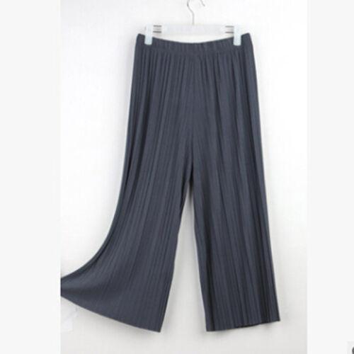 Women Casual Pants Pleated Palazzo Trouser Wide Leg Elastic Waist Pant SW