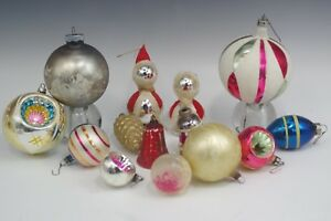 VTG-LARGE-LOT-14-SHINY-BRITE-GERMANY-MERCURY-GLASS-CHRISTMAS-ORNAMENTS-DENTED