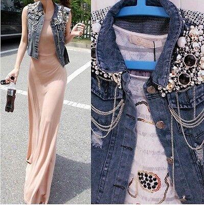 L1 Cowboy Women Sequins Beading Denim Blue Waist-length Outerwear Jean Vest Coat