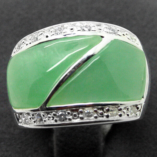 NATURAL EMERALD GEMSTONE SOLID .925 STERLING SILVER RING SZ 7/8/9/10 STAMPED 925