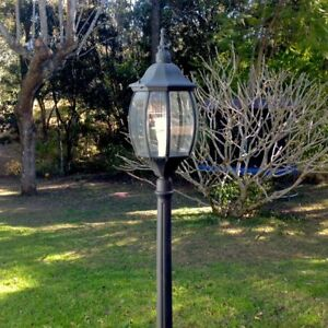 Details About GARDEN LAMP POST Tall Black Federation Style For Home Or  Business Glass Panels