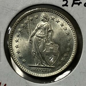 SWITZERLAND-2-FRANCS-1958-KM21-UNC