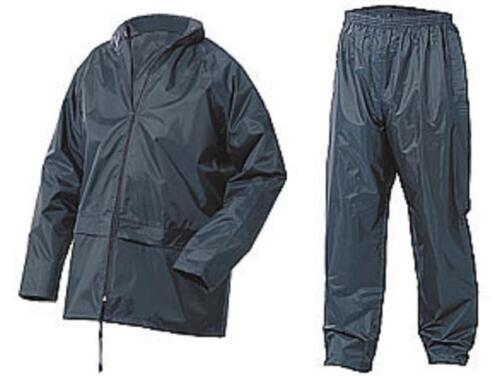 Lightweight Waterproof Rain Jacket /& Trousers Navy Nylon size 5XL