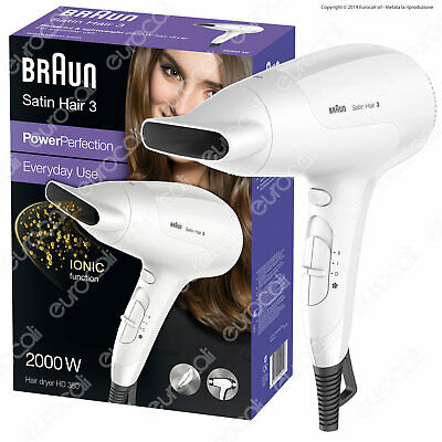 Braun Satin Hair 3 PowerPerfection Asciugacapelli HD380 con Ioni Potente Leggero
